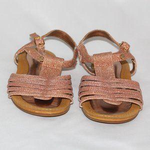 Stuart Weitzman Rose Gold Girl's Glitter Sandals
